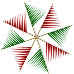 Abstract pinwheel from red and green paper strips