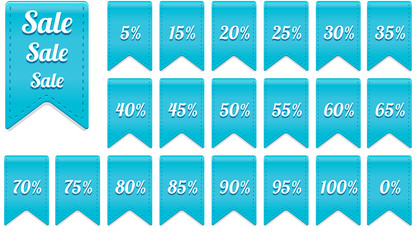 blue ribbon discount label elements set
