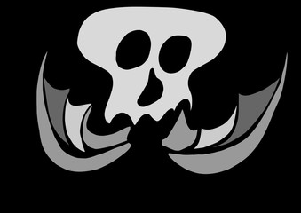 doodle flying skull, Halloween