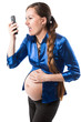 Pregnant business woman crying with mobile phone