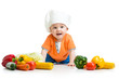 baby cook with healthy  food vegetables
