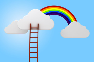 3d ladder, clouds and rainbow, competition concept