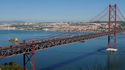 Top View on the 25 de Abril Bridge in Lisbon, Portugal.
