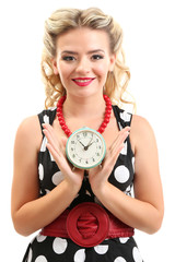 Beautiful girl with old clock, isolated on white