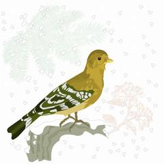 Bird and snow Christmas motive vector