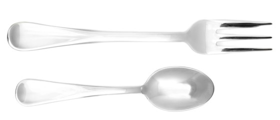 Metal cutlery isolated on white