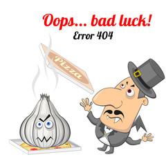 Error 404 concept with vampire and garlic