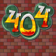 Error 404 concept with brick wall