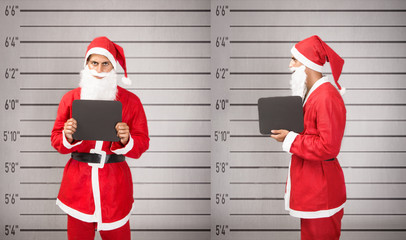 Santa Claus arrested in a prison situation