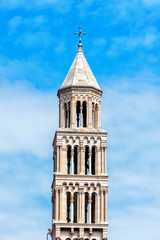 Old church bell tower in Split old town in Croatia