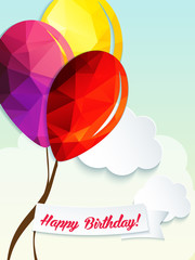 Birthday vector greeting card with triangle balloons