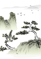 Chinese landscape ink painting © baoyan