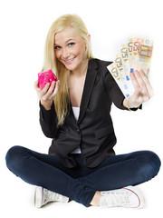Woman saves money