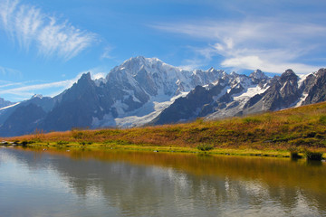 Mont Blanc glacier reflected