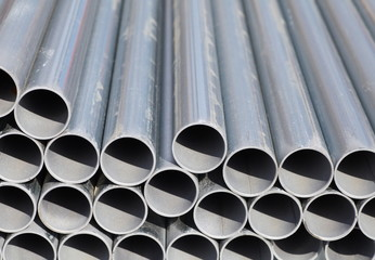 Close - up Stack of steel pipes