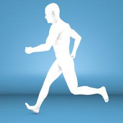 Uomo che corre bianco, anatomia studio