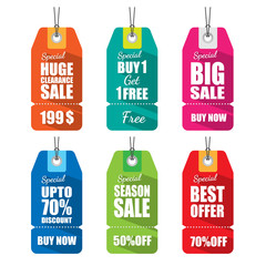 Set of tags for sale with long shadow.vector