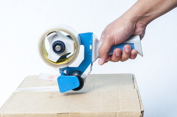 Hand packaging tape and box