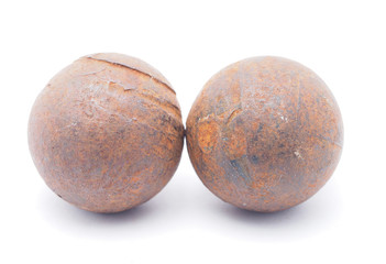 old rusty ball bearing on a white background