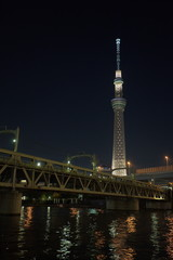 Tokyo sky tree and sumida river with summer light up