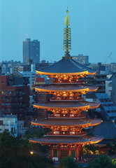 Japanese red pagoda at Tokyo Asakusa temple  in twilight time