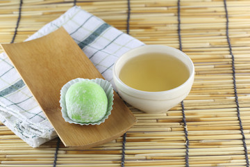 Daifuku of dessert Japanese and hot tea.