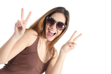 Funny casual teenager girl wearing fashion sunglasses