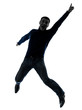 man happy jumping silhouette full length