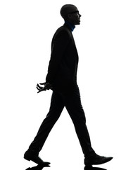 african black man walking toothy smiling  silhouette