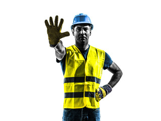 construction worker stop gesture safety vest silhouette