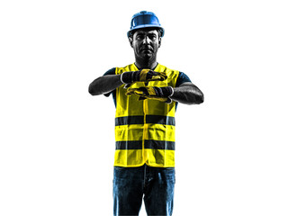 construction worker signaling safety vest emergency stop silhoue