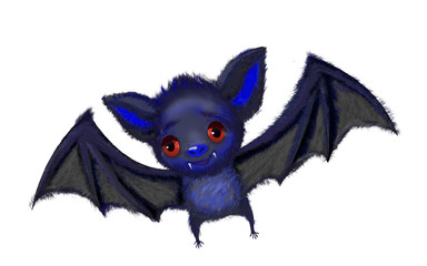 Isolated cute cartoon of a bat flying
