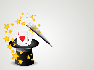 magic wand and cylinder with poker cards hat illustration