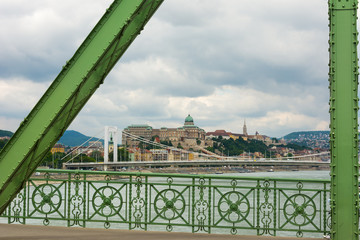View of Liberty Bridge and Elizabeth Bridge over the Danube Buda