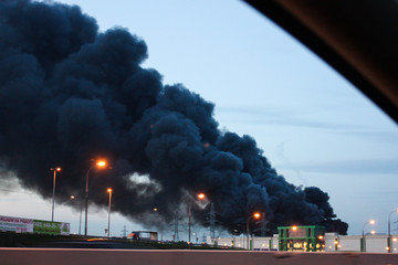 RUSSIA, MOSCOW, AUG 24 2014 - Fire in shopping center in Moscow