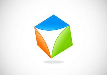 cube abstract color vector logo