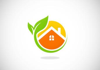 house garden ecology vector logo