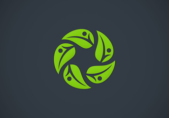 leaf circle people nature vector logo