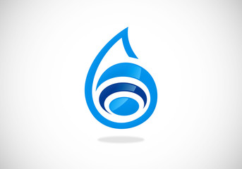 water drop blue abstract vector logo