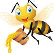 Obrazy na płótnie, fototapety, zdjęcia, fotoobrazy drukowane : Bee cartoon holding honey bucket