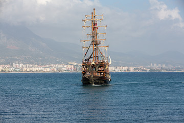 Tourists enjoying sea journey on vintage sailships  in Alanya