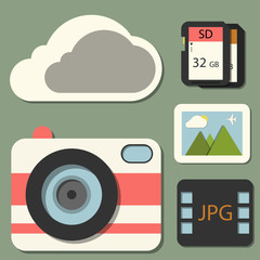 vector flat photography icon set in color