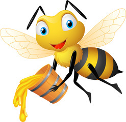 Bee cartoon holding honey bucket