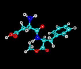 Aspartame molecule isolated on black