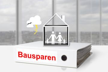 Aktenordner Familie Haus Unwetter Bausparen