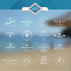 Set of vintage style elements for labels and badges for seafood