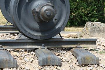Radsatz und Schiene für Eisenbahn, Lokomotive, Waggon
