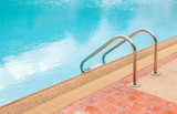 Grab bars ladder in the blue swimming pool, summer time poster