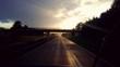 canvas print picture - Sonnenuntergang auf der Autobahn