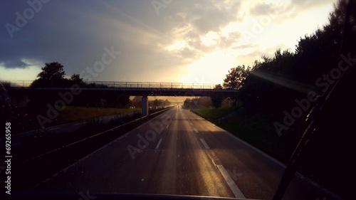 canvas print picture Sonnenuntergang auf der Autobahn